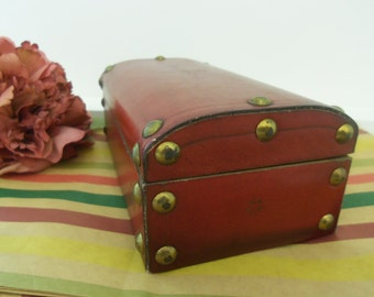 Sale- Men's Women's Vintage Hinged Red Leather over Wood & Brass Trim Jewelry Case Mini Trunk Trinket Storage Box- Birthday Gift Him Her Mom
