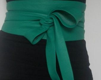 XL- bright Green colour genuine leather obi belt, waist cincher, wide waist belt, wrap on belt, japanese style obi, corset belt, ceinture.