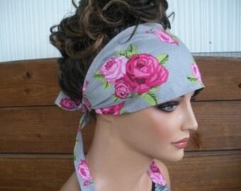 Womens Headband Fabric Headband Fashion Accessories Women Headscarf Boho Headband Yoga Headband in Grey polka dot with Roses print