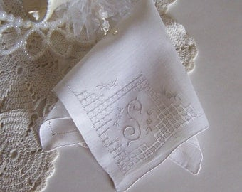 Wedding Hanky Monogrammed S Bride's Handkerchief in Cream Bridal Shower Gift Something Old Wedding Keepsake Bridesmaid Gift