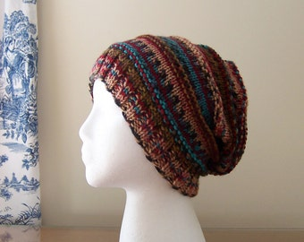 Slouchy Beanie Women's Hand Knit Hat Southwestern Colors of Brown, Red, Turquoise Hand Knit Ribbed Design Fall Winter Accessory