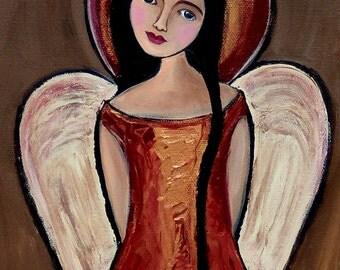 Folk Art Angel Print 8x10 Signed Moondance