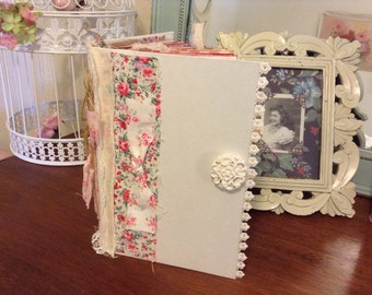 Journal, Junk Journal, Diary, Memerory Book, Scrapbook Shabby Chic, Guests Book