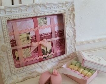 Handmade framed picture. Home decor for dollhouse at 1/12th scale