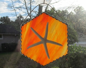 Stained Glass Authentic Starfish Orange and Yellow Suncatcher with Decorative Scallop Foil Border