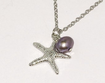 Silver Starfish Necklace Purple Pearl Stocking Stuffer Christmas Gifts Bridesmaid Necklace
