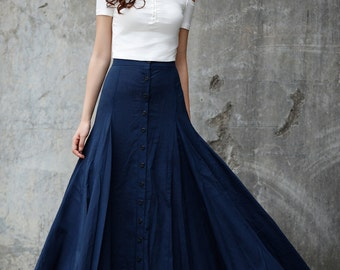New Collection Sexy Maxi Skirt Floor Length Linen Skirt in Navy Blue - NC717