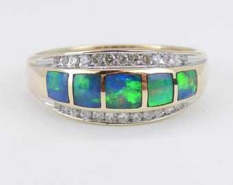 Diamond and Opal Inlay Anniversary Band Right Hand Ring Yellow Gold Size 11.5