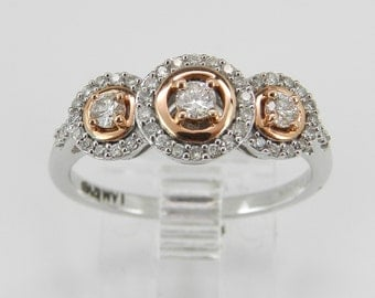 Three-Stone Diamond Engagement Promise Halo Ring White Rose Gold Heart Size 7