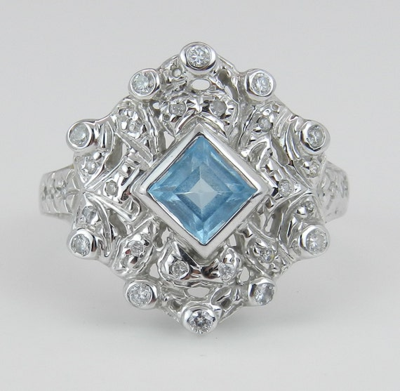 Diamond and Princess Cut Blue Topaz Statement Ring Estate Vintage Ring 14K White Gold Size 8.5