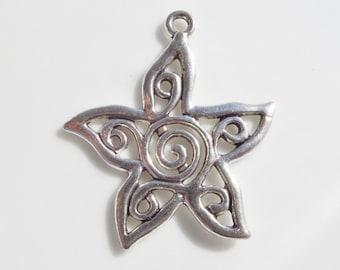 3.4cm, Antique Silver Star & Sun Charm, 3CT. (X16)