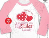 Valentine's Day Shirt - Pink Sleeve Raglan Shirt - Personalized Big Sister to Be Heart Shirt - Valentine Pregnancy Announcement Shirt