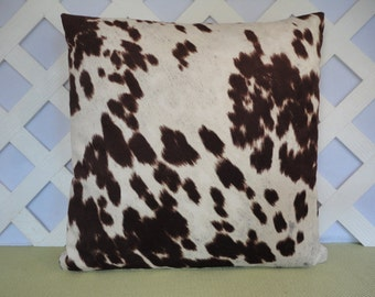 Faux Cowhide Pillow Cover in Brown Ivory /  Cow Pillow / Brown Ivory Pillow / Accent Pillow / Decorative Pillow / 18 x 18 Pillow