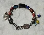 Bracelet - African Trade Beads - Leather - Sterling Silver - Black  Tourmaline - Sundance Style Artisan Jewelry