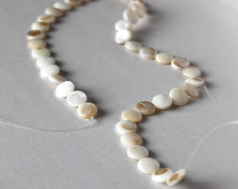 Mother-of-pearl beads, jewelry supplies, beading supplies, natural white, round, circle, geometric