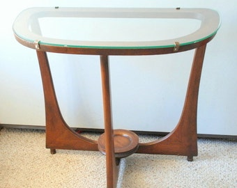SALE Midcentury Wood Console with Glass Top