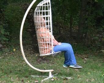 very cool scarce russell WOODARD spun fiberglass HANGING BIRD cage chair pick up only