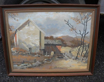 well done large good shape vintage barn farm scene pbn PAINT BY NUMBER painting