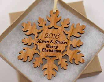 Personalized Christmas Tree Ornament - Wooden Snowflake Ornament Personalized with Names and Year