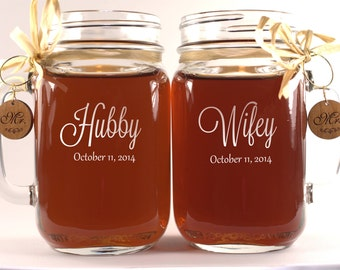 Wifey Hubby Mason Jars 21 Font Options engraved in Beautiful High Resolution Ships with Mr and Mrs Glass Charms