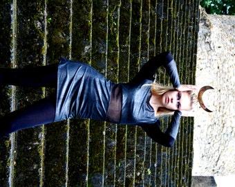 S black dress silver holographic chameleon tulle minimalist futuristic geometric shoulder pads dress,black Women's Clothing,sci fi dress