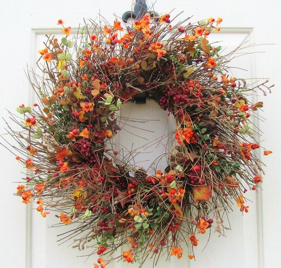 Rustic fall wreath fall floral amp berry wreath front door wreath