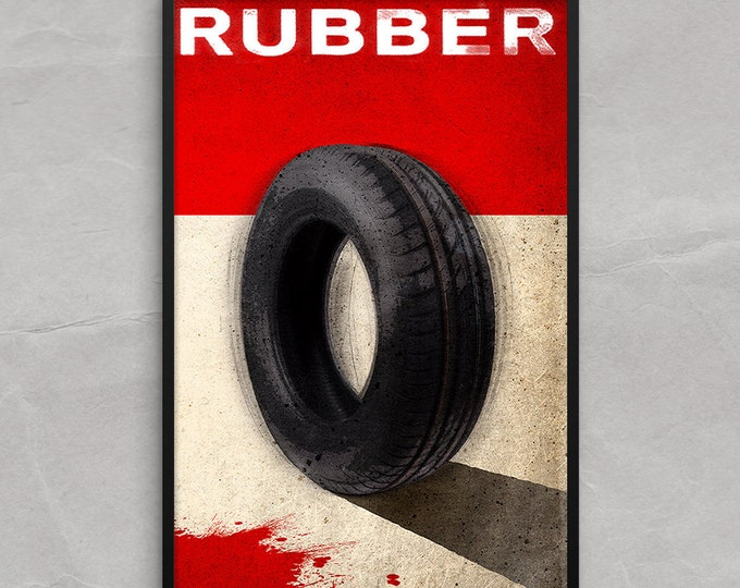 Rubber Movie Poster or Framed Print, Shaking Tire Horror Movie Poster