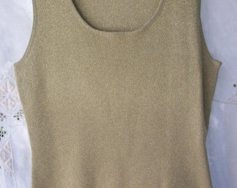Gold Metallic ~ Vintage Sleeveless Blouse ~ Sparkle ~ Stretch / Size Large