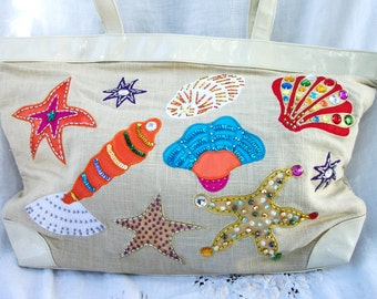 Large lined Tote ~ Timmy Woods ~ Beverly Hills ~ Embellished Beach Theme ~ Cream Tones ~ Designer Purse  ~ Vintage Purse