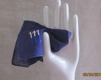 Art Deco Monogram Hanky, Something Blue, Bridal Hanky, Navy Blue, M Monogram,Something Old, Something Blue,