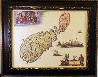 Island of Malta-Gozo-Comino Map Print of a 1665 Map on Parchment Paper