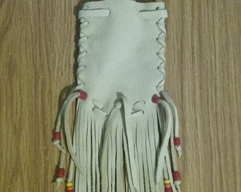 Medicine Bag - Medicine Pouch - Neck Bag - Crystal Bag -  Neck Pouch - Crystal Pouch - Drawstring - Elusive Wolf