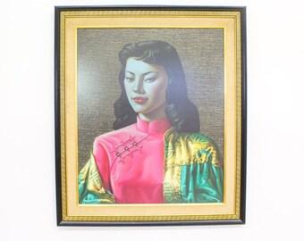 First Run Miss Wong Print Tretchikoff, Glazed Hardboard Original Frame