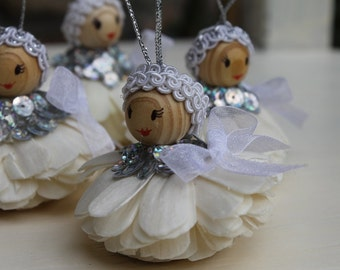 Silver angels, Christmas ornaments,Holliday white angels,Handmade home decor 15 pieces
