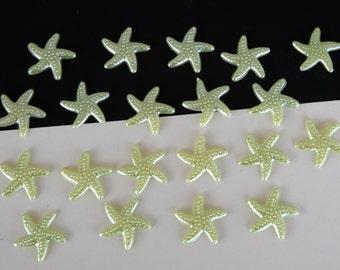 Light Green  Star Fish Cabochon Resin Flat Back 19mm Set of 20