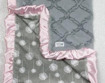 minky blanket, baby girl blanket, dandelion minky, sweet blanket, Custom minky blanket, modern blanket, baby girl blanket, dandelion