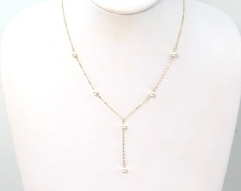 Pearl Gold Lariat or Y Necklace