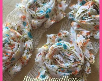 1 yard- Vintage White Floral-Shabby Flowers/ Shabby Trim/ Shabby Chic --1 yard, approx. 14 flowers