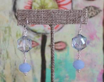 Sky Blue Crystal Drop Earrings