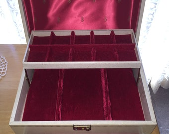 Vintage White Leather Mele Jewelry Box with Red Satin and Velvet Interior