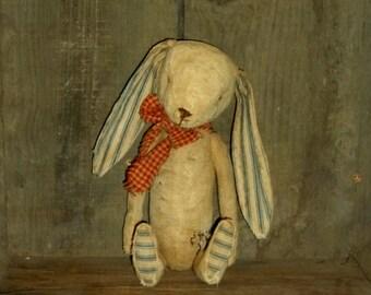 Primitive Feedsack Bunny Rabbit w/Ticking ears ~~ rag stuffed