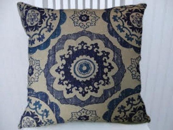 Navy Blue Light Blue Beige Suzani Pillow Cover Cotton