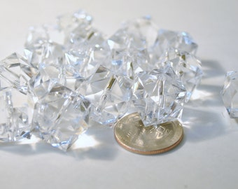 Acrylic Beads -  50 piece Clear Crystal Shaped Beads