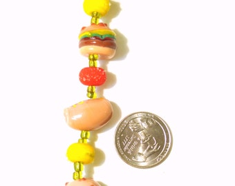 Glass Lampwork Beads- String of 9 Hamburger and Hot Dog Theme