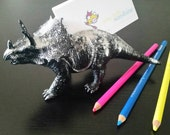 Mother's Day Gift - Gift for Mom - Dinosaur Business Card Holder in Black with Silver splatter