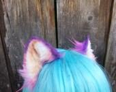 pink and purple kitten ears