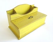 Desk Organizer - Make Up Organizer - Yellow Kitchen Organizer - Pen / Stationery Box /Holder - Distressed Decor - Office Decor - Home Decor