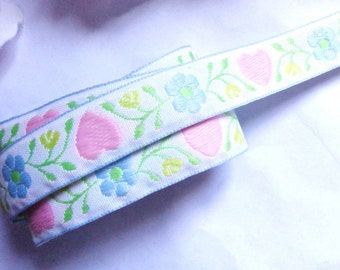 "White/Pink Hearts 13/16"" inch wide Jacquard trim-selling by the yard"