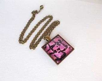 Sale, Pink Mosaic Necklace, Wearable Art Jewelry, Gift for Her, Hand Painted Glass Necklace