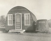 Quonset Hut - Vintage Photo - Old Car - Vintage Snapshot - Corrugated Metal Building - Military - Pre-Fab - Rhode Island - Nissen Hut